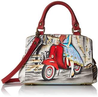 Anuschka Anna Hand Painted Leather Women'S Small Multicompartment Satchel