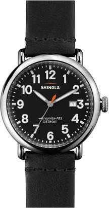 Shinola 'The Runwell' Round Leather Strap Watch, 41mm
