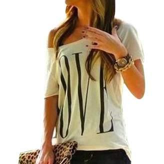 Qiyun Women Casual Love Printed Short Sleeve Summer Cotton Tees Shirts Chemise