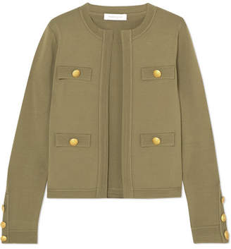 Pierre Balmain Embellished Ribbed-knit Cardigan - Army green