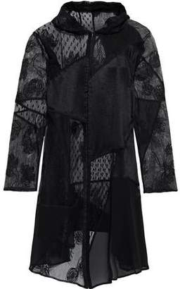 McQ Patchwork Embroidered Mesh And Chiffon Hooded Dress