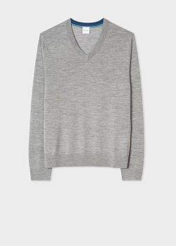 Men's Grey V-Neck Merino Wool Sweater