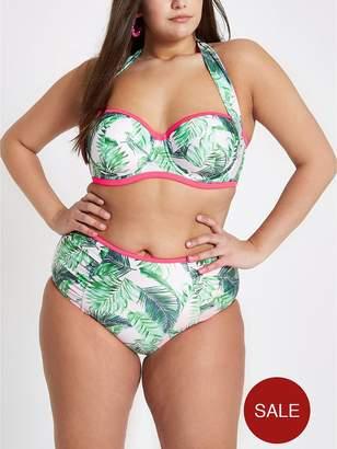 River Island RI Plus Mid Rise Bikini Briefs - Palm Print