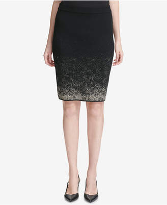 Calvin Klein Metallic-Ombre Sweater Skirt