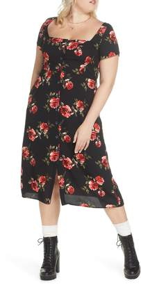 BP x Claudia Sulewski Floral Print Button Front Midi Dress