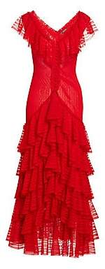 Alexander McQueen Women's Long Tiered Ruffled V-Neck Dress