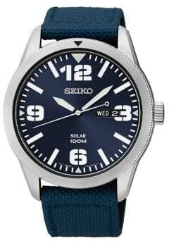 Seiko Mens Stainless Steel Watch with Navy Blue Nylon Strap