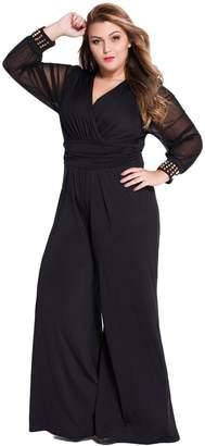 e777cdfd51c Cokar Womens Plus Size Jumpsuits Long Sleeve V-Neck Casual Style Set
