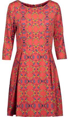 Suno Pleated Floral-Print Silk-Blend Mini Dress