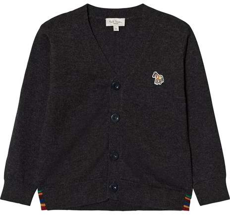 Dark Grey Marl Logo Cardigan with Multi Stripe Detail