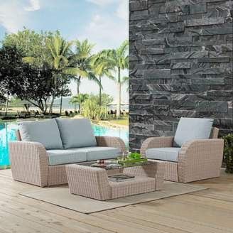 Augustine Crosley Furniture St. Patio Wicker Loveseat, Chair & Coffee Table 3-piece Set
