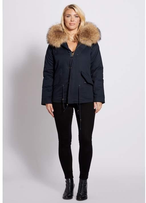 Popski London Navy Parka Jacket With Natural Raccoon Fur Collar