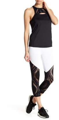 Bebe Colorblock Lace Panel Cropped Leggings
