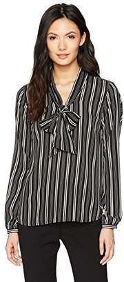 Nine West Women's Long Sleeve Tie Neck Striped Blouse