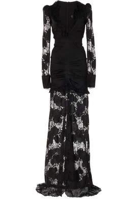 Alexis Lucasta Lace-Detailed Deep-V Maxi Dress Size: S