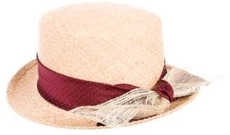 DKNY Straw Bow-Embellished Hat