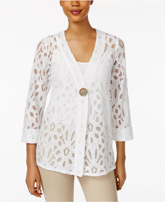 Jm Collection Lace Single-Button Blazer, Created for Macy's $59.50 thestylecure.com