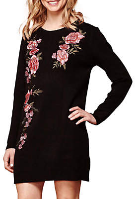 Yumi Embroidered Jumper Dress, Black