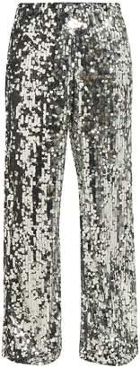 MM6 MAISON MARGIELA Sequinned mesh wide-leg trousers