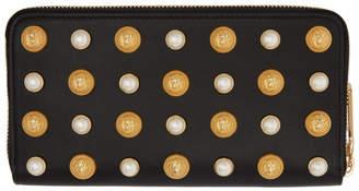Balmain Black Pearl Love Lion Continental Wallet