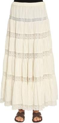 Mes Demoiselles Cotton Lace & Gauze Long Skirt