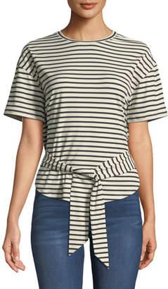 Rebecca Minkoff Lily Striped Tie-Front Crewneck Tee