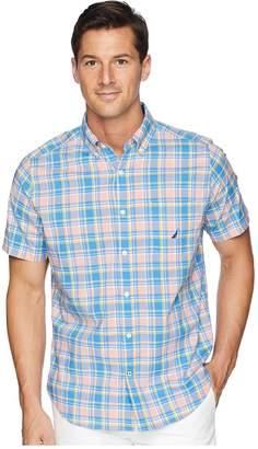Nautica Break Water Stretch Medium Plaid Shirt Men's Short Sleeve Button Up
