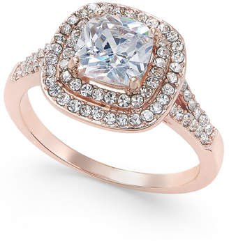 Charter Club Rose Gold-Tone Stone and Crystal Double Halo Statement Ring, Created for Macy's