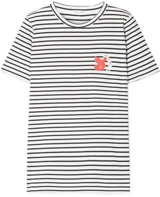 Chinti and Parker Por La Paz Embroidered Striped Cotton-jersey T-shirt - White