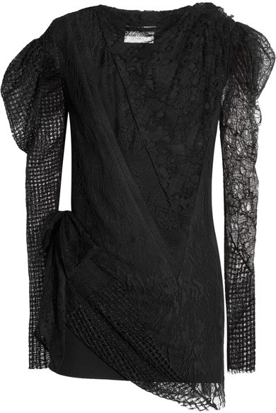 Saint Laurent Saint Laurent - Lace And Mesh-paneled Crepe Mini Dress - Black