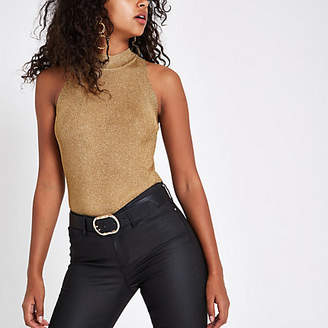 River Island Gold knit sleeveless racerback tank top