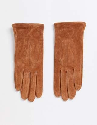Barneys New York Barneys Originals real suede gloves in tan