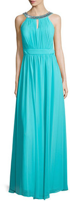 Laundry By Shelli Segal Sleeveless Embellished-Neck Gown, Turquoise Breeze $345 thestylecure.com