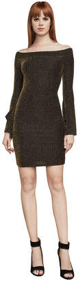 BCBGMAXAZRIA Ellena Metallic Off-The-Shoulder Dress