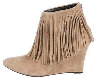 Elyse Walker Fringe Wedge Booties