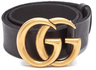 Gucci Gg Logo Raw Edge Leather Belt - Womens - Black