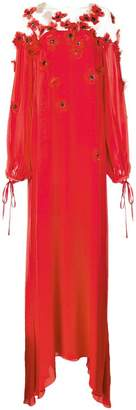 Oscar de la Renta flower appliqué long dress
