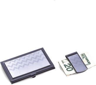 Bey-Berk Bey Berk Gunmetal Finished & Silver Plated Money Clip & Business Card Case Set