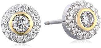 Sterling Silver Cubic Zirconia Round Halo Two Tone Stud Earrings