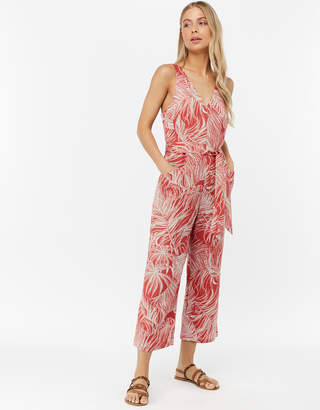 Monsoon Nancy Print Linen Blend Crop Jumpsuit