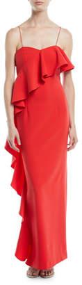 Sachin + Babi Maxi Column Gown w/ Asymmetrical Ruffle