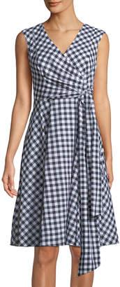 Iconic American Designer Sleeveless Gingham Wrap Dress