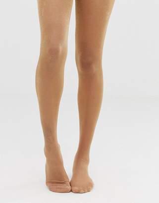 Asos DESIGN metallic sheer tights in rose gold