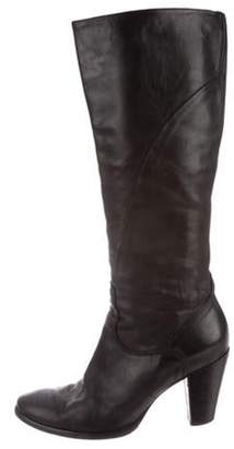 Alberto Fermani Leather Round-Toe Knee-High Boots Black Leather Round-Toe Knee-High Boots