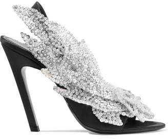 Balenciaga Talon Slash Sequin-embellished Satin Slingback Sandals - Black
