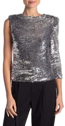 Helmut Lang One Shoulder Sequin Disco Blouse