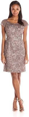 Ignite Women's Sequened Illusion Sutach Short Evening Dress