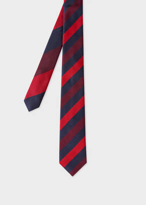 Paul Smith Men's Red Diagonal Stripe Narrow Silk Tie With 'Ocean' Lining