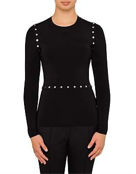 Alexander Wang Crewneck Long Sleeve Pullover With Splittable Snap Waist