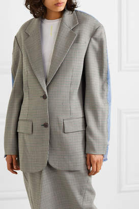 Pushbutton - Denim And Houndstooth Woven Blazer - Gray green